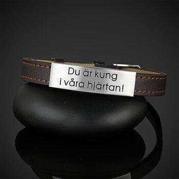 """Läderarmband """"Du är kung i våra hjärtan"""""""