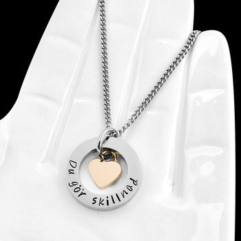 Personligt halsband med rosehjärta & 22mm ring