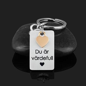 """Nyckelring med minihjärta """"Du är värdefull"""""""