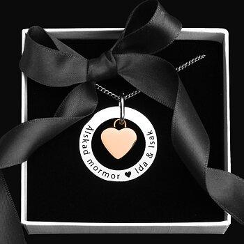 Personligt halsband 32mm med rosehjärta