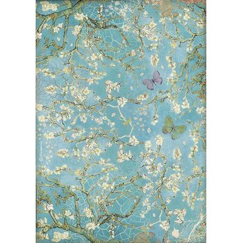 Rispapper A4 Stamperia - Atelier Blossom blue background with butterfly