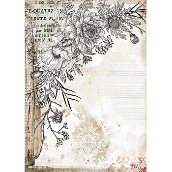 Rispapper A4 Stamperia - Romantic Journal stylized flower