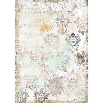 Rispapper A4 Stamperia - Romantic Journal texture with lace