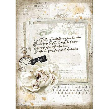 Rispapper A4 Stamperia - Romantic Journal manuscript and clock