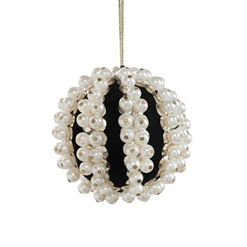Joanna Buchanan pearl and velvet ball black ornament