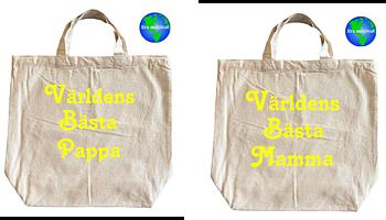Tygkasse Miljökasse 2 pack Världens Bästa Mamma Och Pappa (fluorescerande)