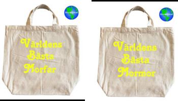 Tygkasse Miljökasse 2 pack Världens Bästa Mormor Och Morfar (fluorescerande)