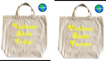 Tygkasse Miljökasse 2 pack Världens Bästa farmor Och Farfar (fluorescerande)