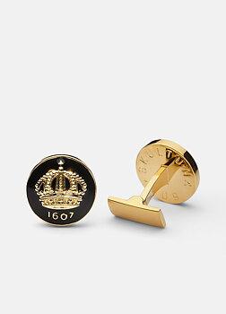 Skultuna - Manschettknappar Crown Guld Baroque Black