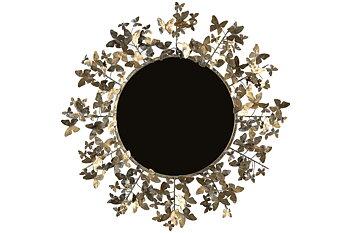 Rund spegel med fjäril
