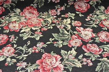 gobeläng på svart botten med rosor