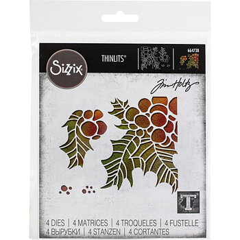 Sizzix Thinlits Dies By Tim Holtz 4/Pkg Holly Pieces
