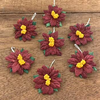 50 Dark Red Mulberry Paper Flowers Poinsettias - 35 mm