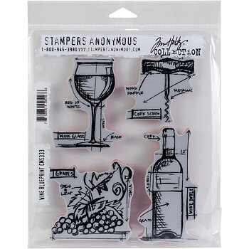 Tim Holtz Cling Stamps - Wine Blueprint