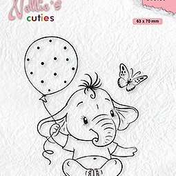 """Nellie's Cuties """"Baby elephant with balloon"""" clear stamps"""