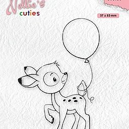 """Nellie's Cuties """"young deer with balloon"""" clear stamps"""