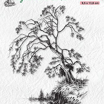 "Clear Stamps Idyllic Floral Scenes ""tree on waterside"""