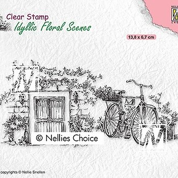 "Clear Stamps Idyllic Floral Scenes ""Old door with bike"""
