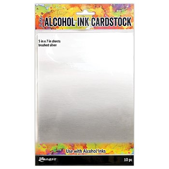 "Tim Holtz Alcohol Ink Cardstock 5""X7"" 10/Pkg Brushed Silver"