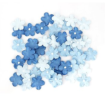 Small flowers with pearl in blue tones