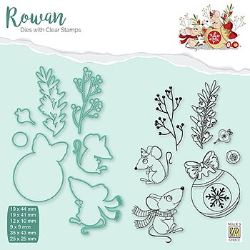 "Rowan Dies&clear stamps sets ""Christmas mouse-1"" ""Christmas bouble"""
