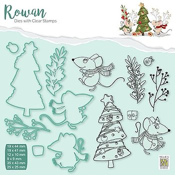 """Rowan Dies&clear stamps sets """"Christmas mouse-3"""" """"Christmas tree"""""""