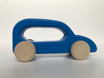 Stor träbil - Blå