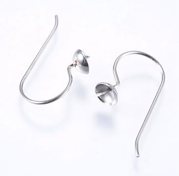 Öronkrok för halvborrade pärlor rostfritt stål 6st