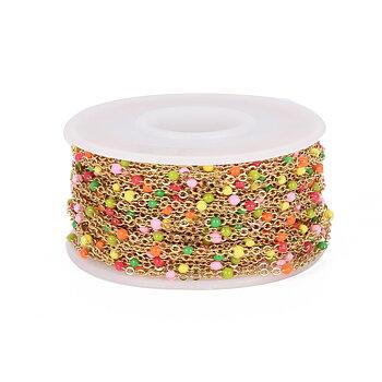Candy kedja med emaljkulor guldfärgat rostfritt stål