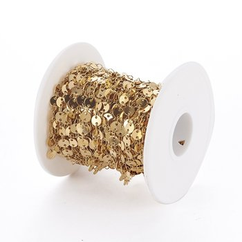 Kedja runda plattor rostfritt guld metervis