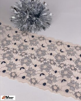 Stretch lace 17 cm - Fade peach  with grey flowers
