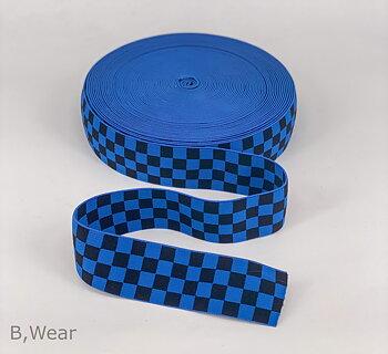 Schackrutig - Kornblå/svart - 40 mm