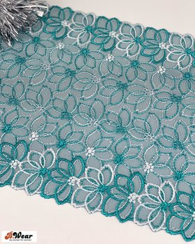 Petrolgreen non-stretch lace with silverwhite flowers