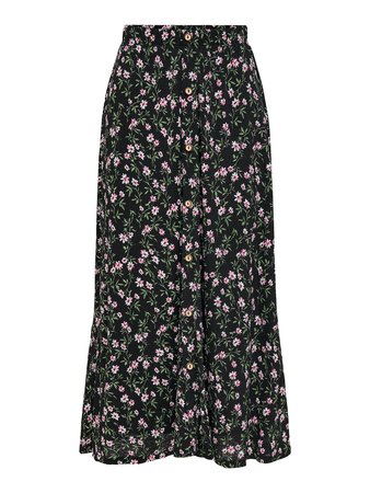 Only - Pella Maxi Skirt Black Flowering