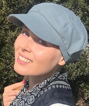 Zoe ljusblå, keps vid håravfall