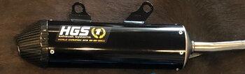 HGS Ljuddämpare svart med kolfiber ända 2T Racing KTM125/150 19- HVA TC125 19-