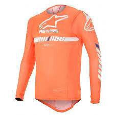 Alpinestars Junior Racer Tech Tröja Orange Flu/Vit/Blå