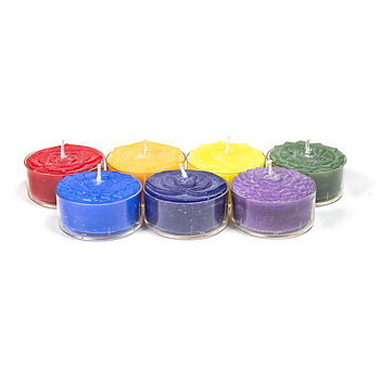Chakra scented tea light candles set of 7 -- 4x2 cm