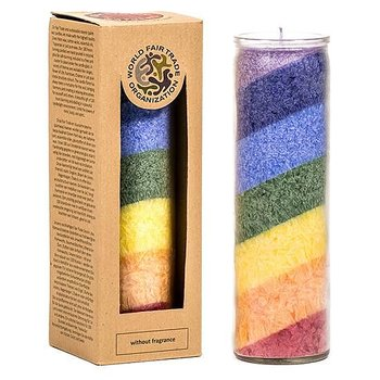 Rainbow Stearin Candle unscented in glass -- 21x6.5 cm