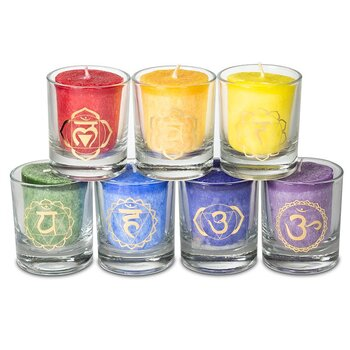 Set: 7 chakra scented votive candles in giftbox