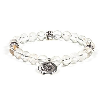 Mala/bracelet rock crystal elastic with ohm
