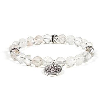 Mala/bracelet rock crystal elastic lotus
