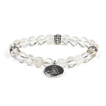Mala/bracelet rock crystal elastic buddha