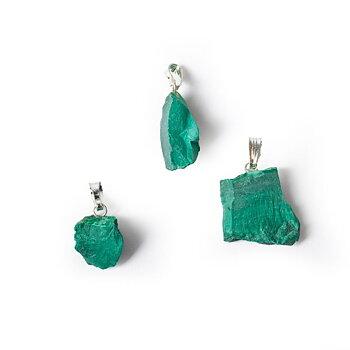 Malachite rough gemstone pendant -- ±2.5cm