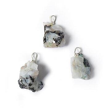 White moonstone rough gemstone pendant -- ±3.5cm