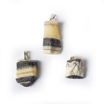 Zebra onyx rough gemstone pendant -- ±2.5cm