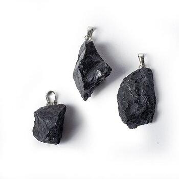 Shungit rough gemstone pendant -- ±3-4.5cm