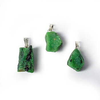 Ruby in Zoisite (Anyolite) rough gemstone pendant -- ±2.5cm