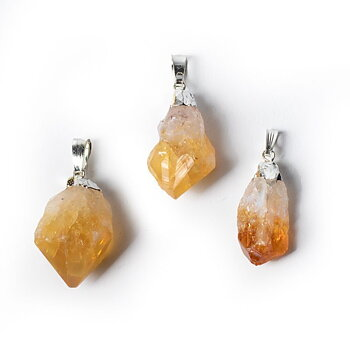 Citrine point gemstone pendan -- ±3cm
