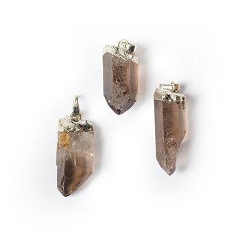 Smokey quartz point gemstone pendant -- ±3cm